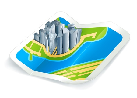 Town on the map, icon Vector