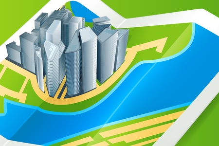 Town on the map Vector