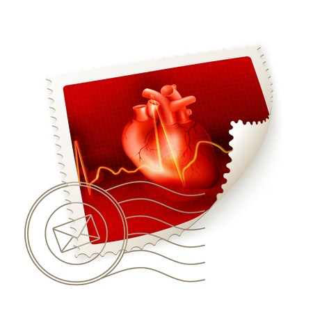 anatomy heart: Heart, postage stamp
