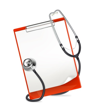 clipboard isolated: Clipboard with stethoscope