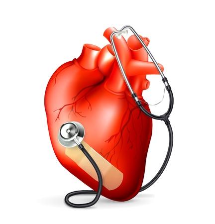 estetoscopio corazon: Corazón y un estetoscopio