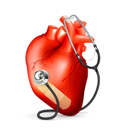 palpitations: Heart and stethoscope Illustration