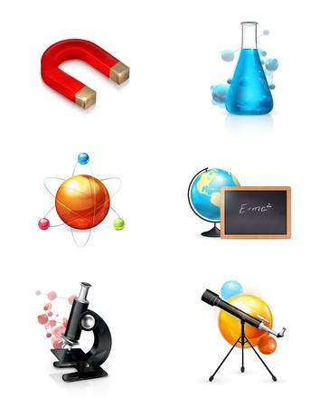 probeta: La ciencia, conjunto, icono Vectores