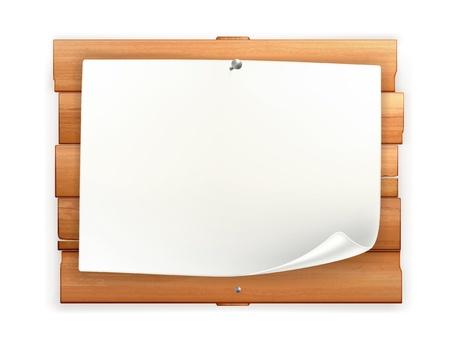 letreros: Anuncio sobre tabla de madera Vectores
