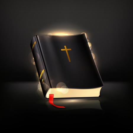 god in heaven: Bible on black Illustration
