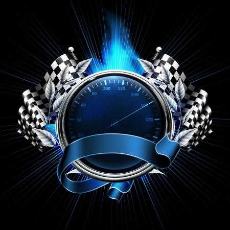 compteur de vitesse: Courses emblème bleu Illustration