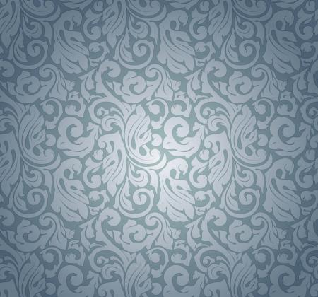 victorian wallpaper: Blue pattern seamless