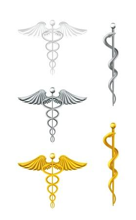 personal medico: Caduceo, conjunto Vectores