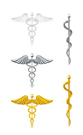 medical emblem: Caduceus, set