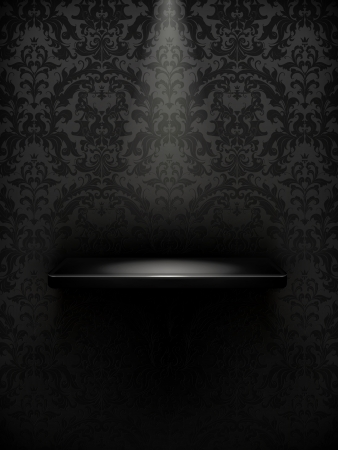 Empty shelf, black luxury Vector