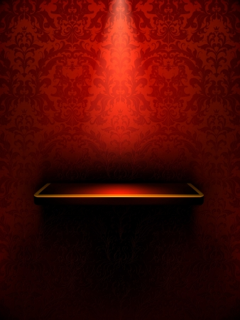 red carpet background: Empty shelf, red luxury Illustration