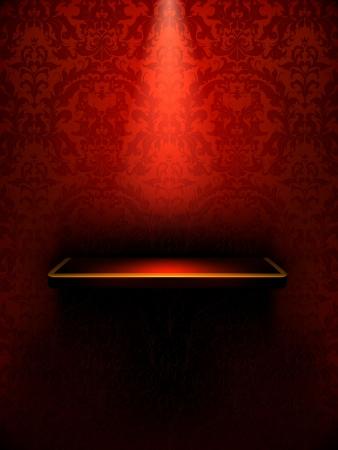 Lege plank, rood luxe Vector Illustratie