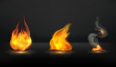 flammable warning: Flames set Illustration
