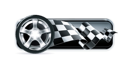 d�part course: Racing banni�re avec une roue de voiture Illustration