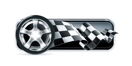 car wheel: Racing pancarta con la rueda del autom�vil