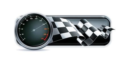 compteur de vitesse: Racing bannière avec indicateur de vitesse