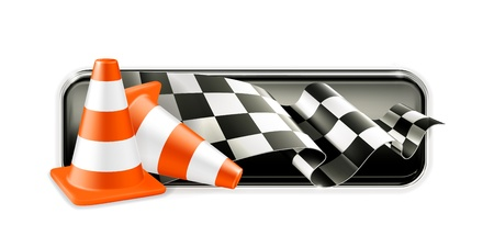 Racing banner with traffic cones Stock Vector - 13857979