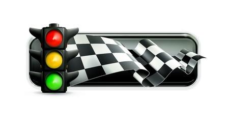 bandera carrera: Banner Racing con semáforos Vectores