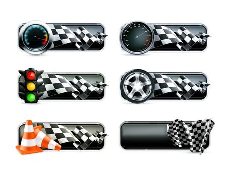 Banery Racing ustawić Ilustracje wektorowe
