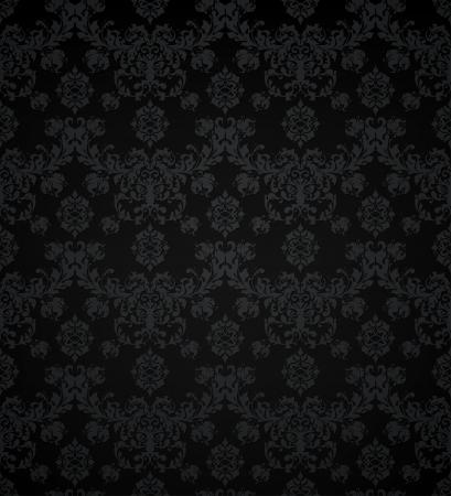antiek behang: Wallpaper patroon zwart, naadloze Stock Illustratie