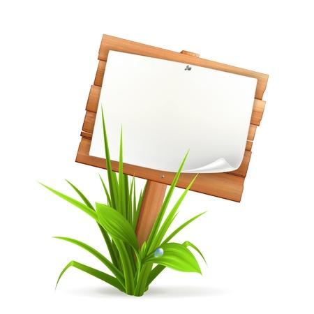 Holzschild im Gras Vektorgrafik