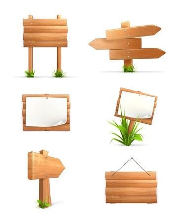 pancarte bois: Des panneaux en bois mis en Illustration