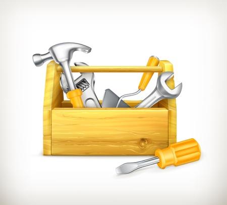 herramientas de carpinteria: Caja de herramientas de madera