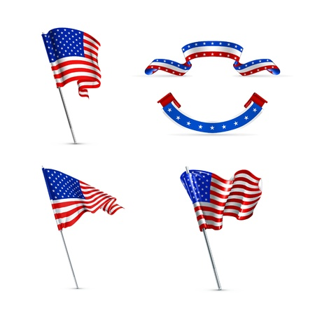 flags: American flags, set Illustration