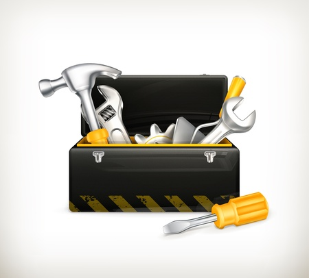 carpentry tools: Black toolbox