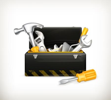 herramientas de carpinteria: Negro caja de herramientas Vectores
