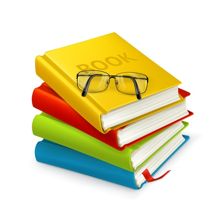 stack of documents: Books and glasses