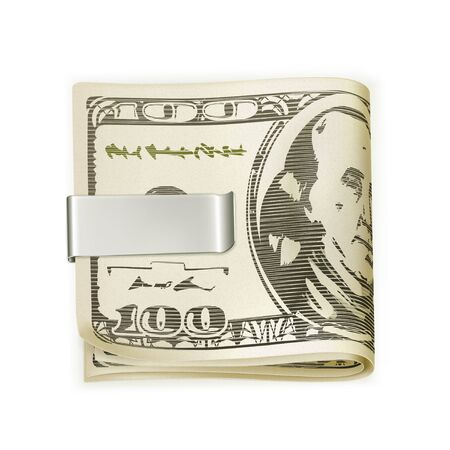 dollar bills: Cash folded in a money clip