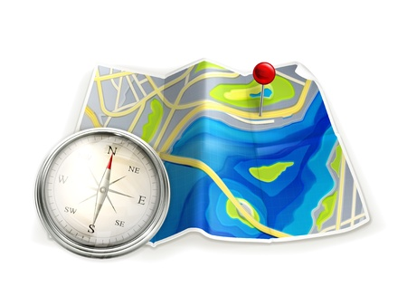 elhelyezkedés: Térkép és iránytű Illusztráció