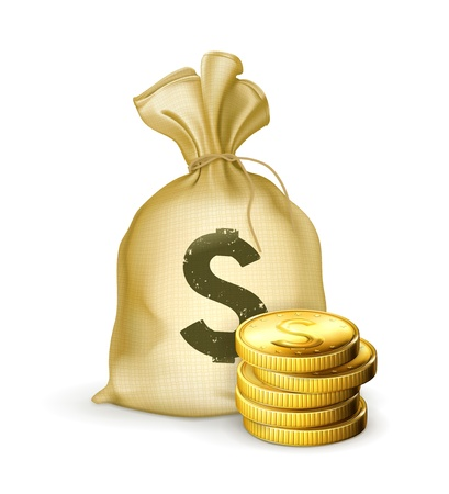 money making: Moneybag and coins