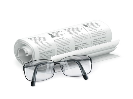 Newspaper and glasses Stock Vector - 13898898