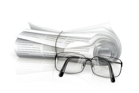 Newspaper and glasses Stock Vector - 13898714