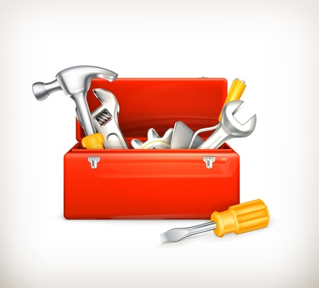 Red toolbox Stock Vector - 13898909