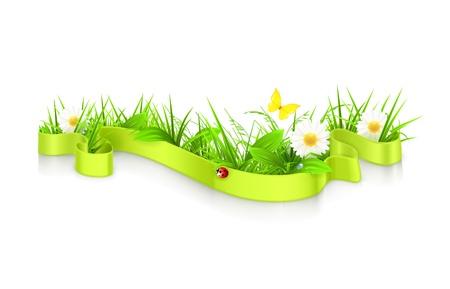 wild flowers: Ribbon in het gras Stock Illustratie
