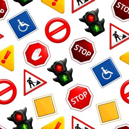 señal transito: Las señales de tráfico, el patrón sin fisuras Vectores