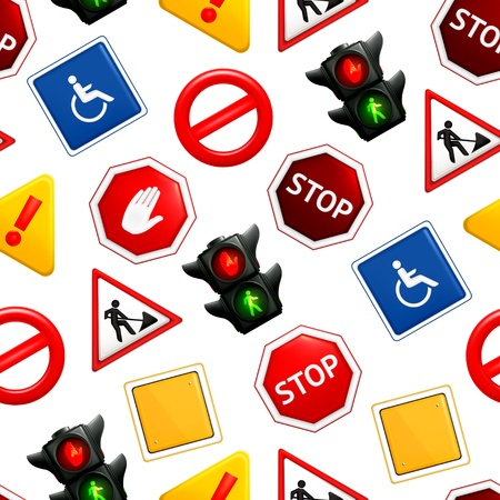 Road signs, seamless pattern Stock Vector - 13898912