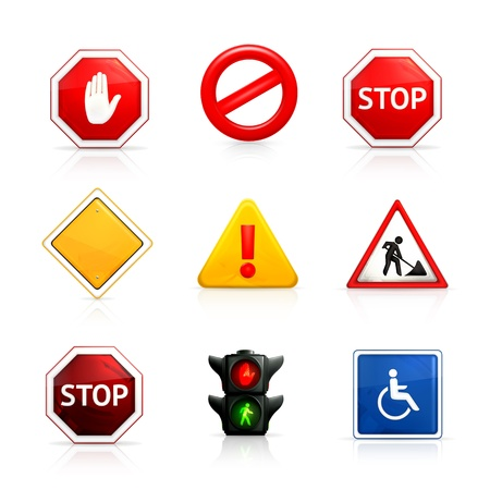 point d exclamation: Jeu de panneaux de signalisation routière