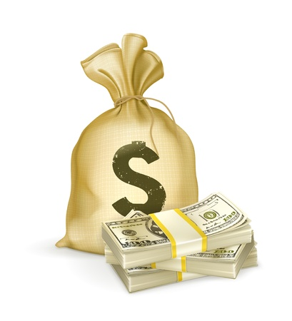 money bag: Sack and money Illustration