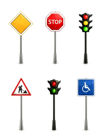 yield sign: Set of road signs