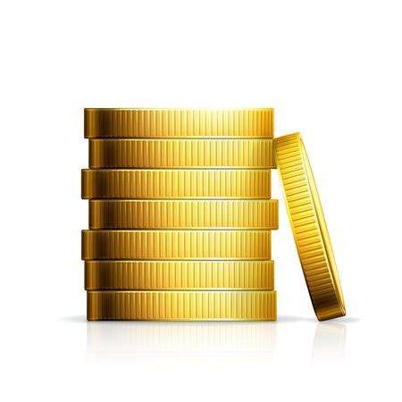 stack of cash: Pila de monedas Vectores