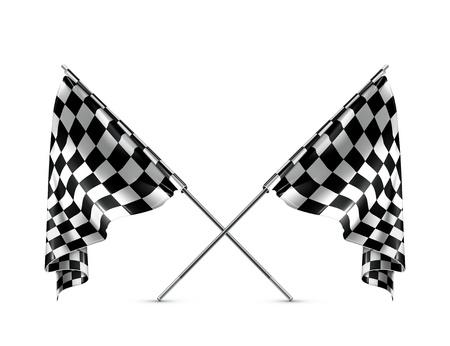 cuadros blanco y negro: Dos cruzó banderas a cuadros Vectores