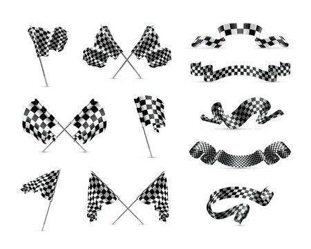 Checkered flags, set Vector