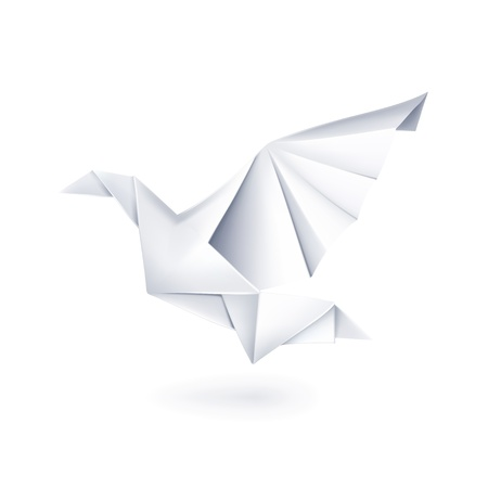 Paper dove, origami Illustration