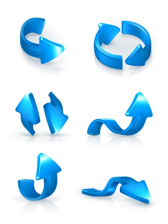 Blue arrows set Vector