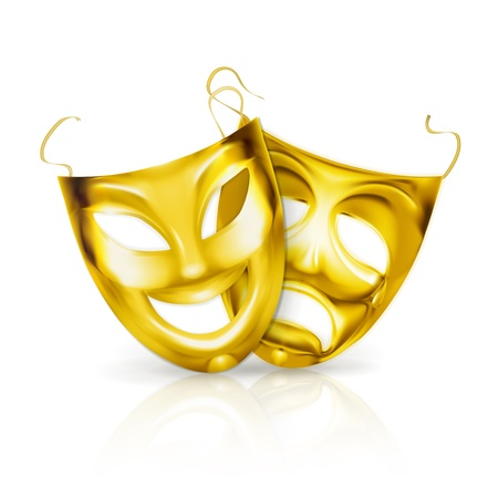 tragedy mask: Gold theater masks Illustration