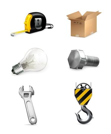 metal light bulb icon: Industrial icons set